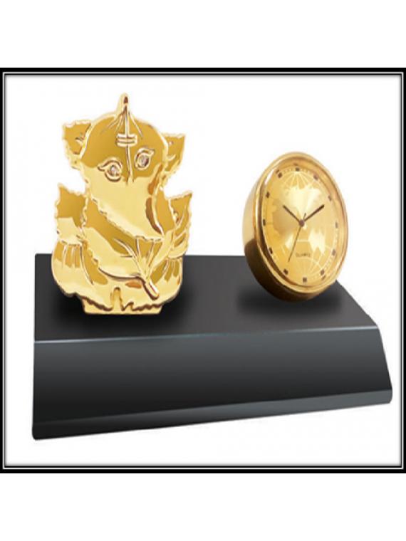 Metal Ganesha With Clock