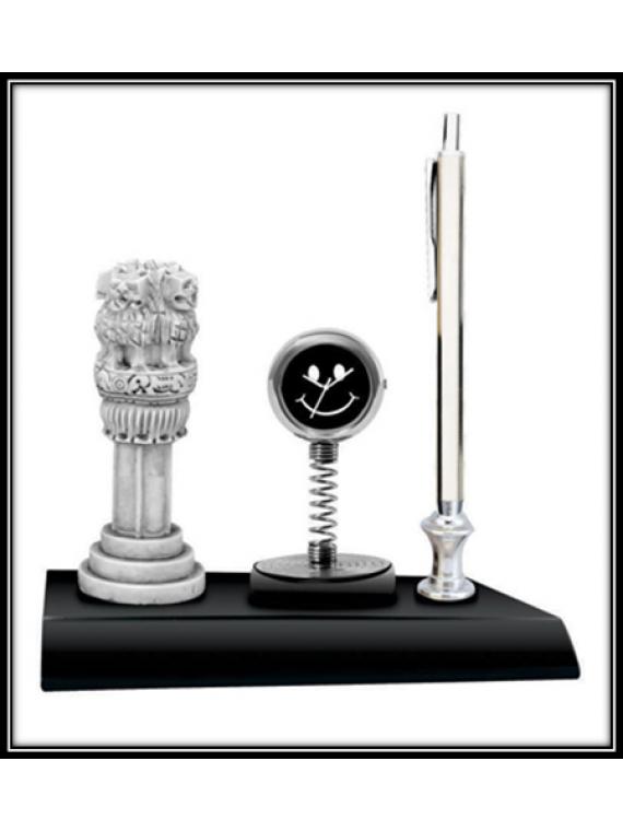Table Clock with Ashoka Pillar & Pen